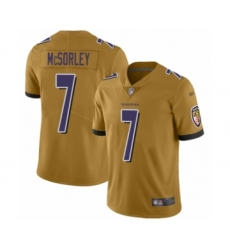 Men's Baltimore Ravens #7 Trace McSorley Limited Gold Inverted Legend Football Jersey