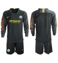 Manchester City Blank Black Goalkeeper Long Sleeves Soccer Club Jersey