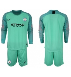 Manchester City Blank Green Goalkeeper Long Sleeves Soccer Club Jersey