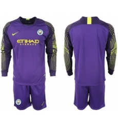 Manchester City Blank Purple Goalkeeper Long Sleeves Soccer Club Jersey
