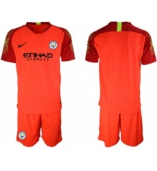 Manchester City Blank Red Goalkeeper Soccer Club Jersey