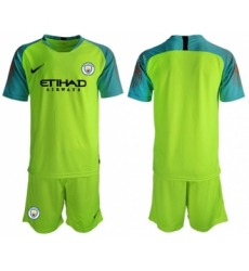 Manchester City Blank Shiny Green Goalkeeper Soccer Club Jersey