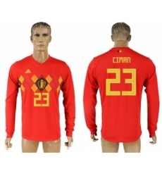 Belgium #23 Ciman Red Home Long Sleeves Soccer Country Jersey