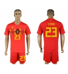 Belgium #23 Ciman Red Soccer Country Jersey