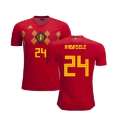 Belgium #24 Kabasele Red Soccer Country Jersey