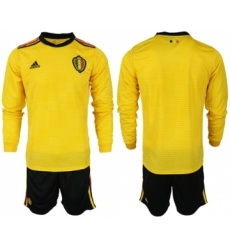 Belgium Blank Away Long Sleeves Soccer Country Jersey