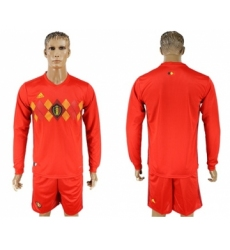 Belgium Blank Red Home Long Sleeves Soccer Country Jersey