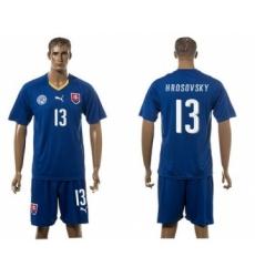 Slovakia #13 Hrosovsky Blue Away Soccer Country Jersey