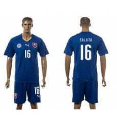 Slovakia #16 Salata Blue Away Soccer Country Jersey