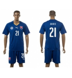 Slovakia #21 Duris Blue Away Soccer Country Jersey