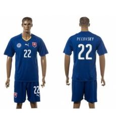Slovakia #22 Pecovsky Blue Away Soccer Country Jersey