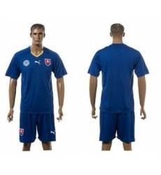 Slovakia Blank Blue Away Soccer Country Jersey