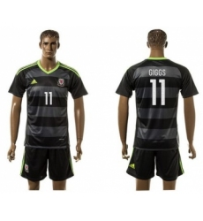 Wales #11 Giggs Black Away Soccer Country Jersey