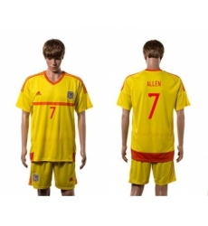 Wales #7 Allen Away Soccer Country Jersey
