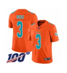 Youth Miami Dolphins #3 Josh Rosen Limited Orange Inverted Legend 100th Season Football Jersey