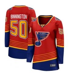 Women's St. Louis Blues #50 Jordan Binnington Fanatics Branded Red 2020-21 Special Edition Breakaway Player Jersey