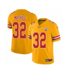 Youth Kansas City Chiefs #32 Tyrann Mathieu Limited Gold Inverted Legend Football Jersey