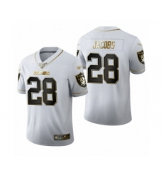 Men's Oakland Raiders #28 Josh Jacobs White Golden Edition Limited Football Jersey