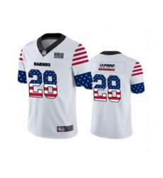 Men's Oakland Raiders #28 Josh Jacobs White Independence Day Limited Football Jersey