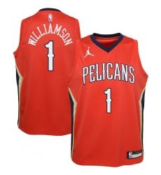 Youth New Orleans Pelicans #1 Zion Williamson Jordan Brand Red 2020-21 Swingman Player Jersey