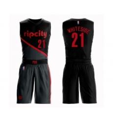Men's Portland Trail Blazers #21 Hassan Whiteside Swingman Black Basketball Suit Jersey - City Edition