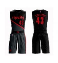 Men's Portland Trail Blazers #43 Anthony Tolliver Swingman Black Basketball Suit Jersey - City Edition
