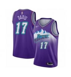 Women's Utah Jazz #17 Ed Davis Swingman Purple Hardwood Classics Basketball Jersey