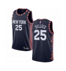 Men's New York Knicks #25 Reggie Bullock Authentic Navy Blue Basketball Jersey - 2018 19 City Edition
