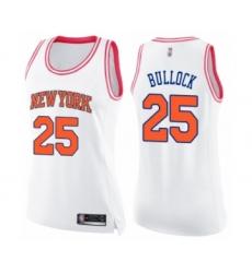 Women's New York Knicks #25 Reggie Bullock Swingman White Pink Fashion Basketball Jersey