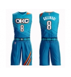 Men's Oklahoma City Thunder #8 Danilo Gallinari Swingman Turquoise Basketball Suit Jersey - City Edition