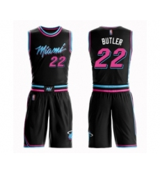 Youth Miami Heat #22 Jimmy Butler Swingman Black Basketball Suit Jersey - City Edition