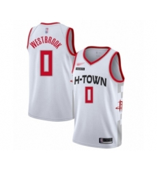 Men's Houston Rockets #0 Russell Westbrook Swingman White Basketball Jersey - 2019-20 City Edition