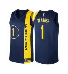 Men's Indiana Pacers #1 T.J. Warren Authentic Navy Blue Basketball Jersey - City Edition