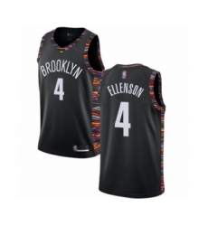 Men's Brooklyn Nets #4 Henry Ellenson Authentic Black Basketball Jersey - 2018 19 City Edition