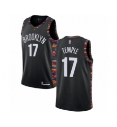 Men's Brooklyn Nets #17 Garrett Temple Authentic Black Basketball Jersey - 2018 19 City Edition
