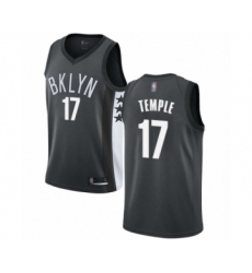 Men's Brooklyn Nets #17 Garrett Temple Authentic Gray Basketball Jersey Statement Edition