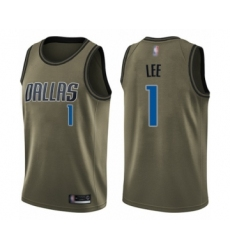 Men's Dallas Mavericks #1 Courtney Lee Swingman Green Salute to Service Basketball Jersey