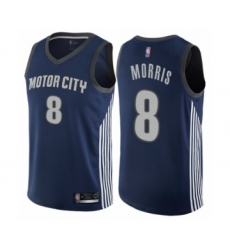 Men's Detroit Pistons #8 Markieff Morris Authentic Navy Blue Basketball Jersey - City Edition