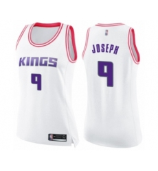 Women's Sacramento Kings #9 Cory Joseph Swingman White Pink Fashion Basketball Jersey