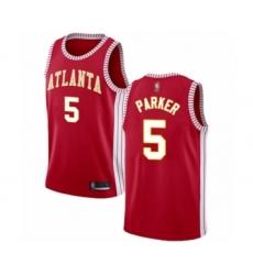 Men's Atlanta Hawks #5 Jabari Parker Authentic Red Basketball Jersey Statement Edition