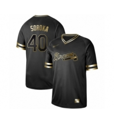 Men's Atlanta Braves #40 Mike Soroka Authentic Black Gold Fashion Baseball Jersey