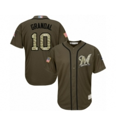 Men's Milwaukee Brewers #10 Yasmani Grandal Authentic Green Salute to Service Baseball Jersey