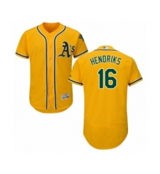 Men's Oakland Athletics #16 Liam Hendriks Gold Alternate Flex Base Authentic Collection Baseball Jersey