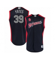 Men's San Diego Padres #39 Kirby Yates Authentic Navy Blue National League 2019 Baseball All-Star Jersey