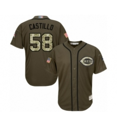 Youth Cincinnati Reds #58 Luis Castillo Authentic Green Salute to Service Baseball Jersey