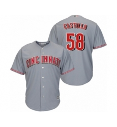 Youth Cincinnati Reds #58 Luis Castillo Authentic Grey Road Cool Base Baseball Jersey