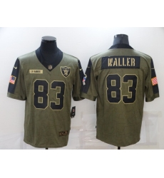Men's Oakland Raiders #83 Darren Waller Nike Olive 2021 Salute To Service Limited Player Jersey