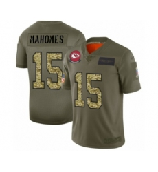 Men's Kansas City Chiefs #15 Patrick Mahomes 2019 Olive Camo Salute to Service Limited Jersey