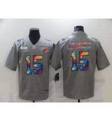 Men's Kansas City Chiefs #15 Patrick Mahomes Gray Rainbow Version Nike Limited Jersey