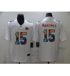 Men's Kansas City Chiefs #15 Patrick Mahomes White Rainbow Version Nike Limited Jersey